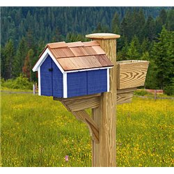 Pressure Treated Pine Bright Blue with White Trim Painted Mailbox - Amish Made