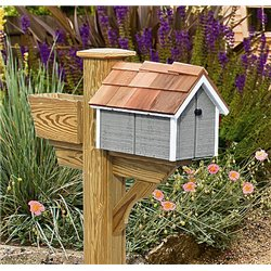 Pressure Treated Pine Gray with White Trim Painted Mailbox - Amish Made