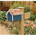 Pressure Treated Pine Dark Blue with White Trim Painted Mailbox - Amish Made