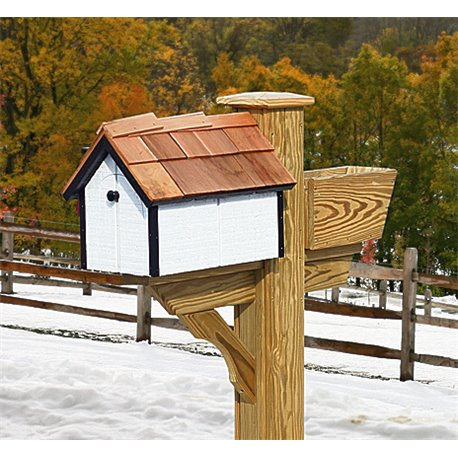 Pressure Treated Pine White with Black Trim Painted Mailbox - Amish Made