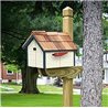Pressure Treated Pine White with Blue Trim Painted Mailbox - Amish Made