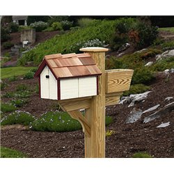 Pressure Treated Pine White with Burgundy Trim Painted Mailbox - Amish Made