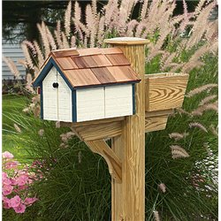 Pressure Treated Pine White with Dark Blue Trim Painted Mailbox - Amish Made