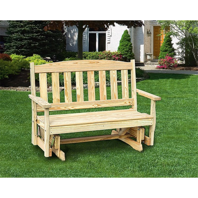 Pressure Treated Pine 4 Ft English Garden Glider Bench   Unfinished,  Painted, Or Stained