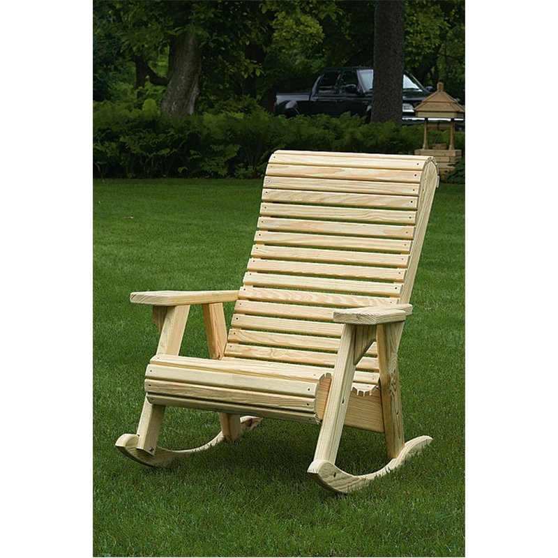 Beau Pressure Treated Pine Rollback Total Comfort Rocking Chair   Unfinished,  Painted, Or Stained