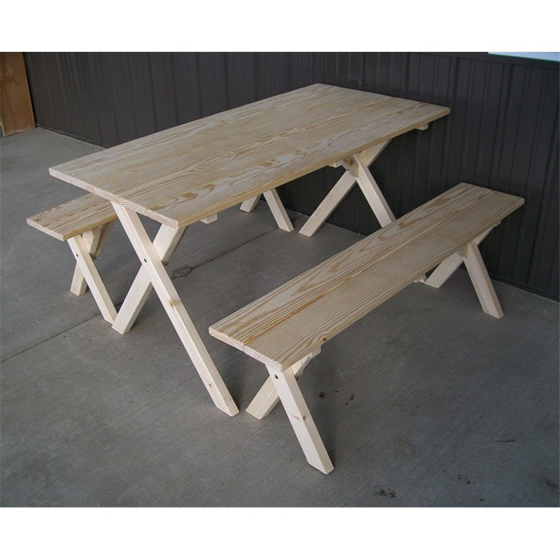 Bon Pine Economy 5 Foot Picnic Table With 2 Detached Cross Leg Benches    Unfinished Or Cedar ...