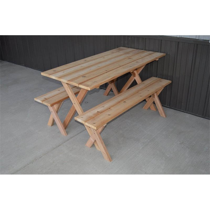 Beau Cedar Economy 5 Foot Picnic Table With 2 Detached Cross Leg Benches    Unfinished Or Cedar ...