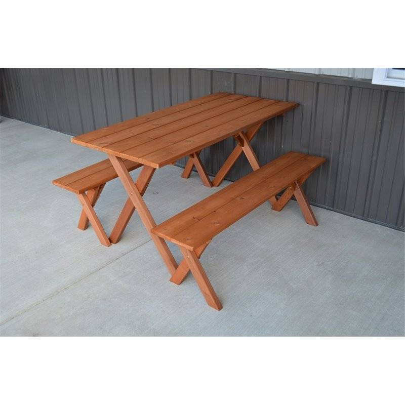Cedar Economy Foot Picnic Table With Detached Cross Leg Benches - Unfinished wood picnic table