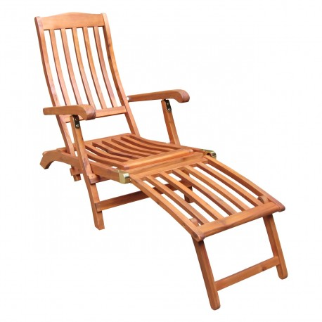 Solid Acacia Folding Steamer Chair with brass-plated hardware - Natural Oiled