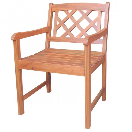 Solid Acacia Cross-Back Patterned Chair - Natural Oiled
