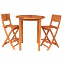 Solid Acacia Round Bar Table + 2 Folding Bar Stools - 3 pc. set