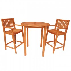 Solid Acacia Round Bar Table + 2  Bar Stools with Arms - 3 pc. set - Natural Oiled
