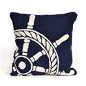 Nautical White Ships Wheel Pillow on Navy Blue
