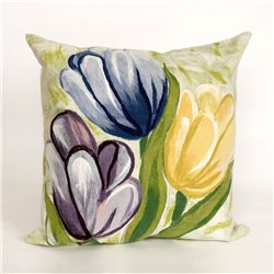 BLue, Purple, & Yellow Tulips on Green and White