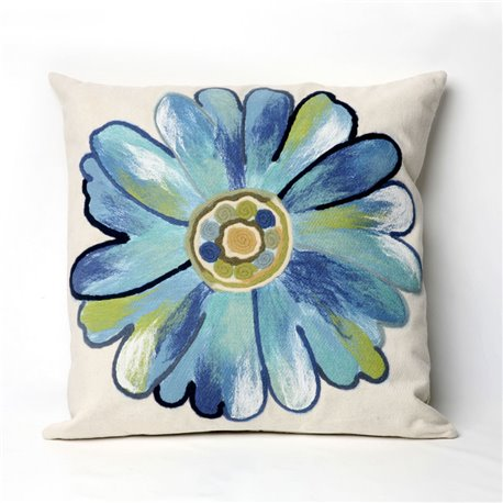 Aqua Water Color Daisy on Cream