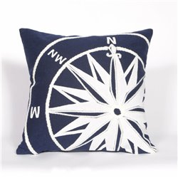 White Nautical Marine Compass on Navy