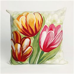 Red, Orange, & Yellow Tulips on Green and White