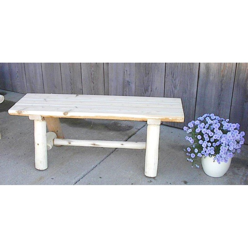 Awesome White Cedar Log Rustic Backless Garden / Patio Bench 4/5/6 Ft. ...