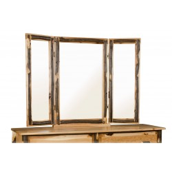 Tri-View Mirror Frame - Rustic Hickory Log Trim