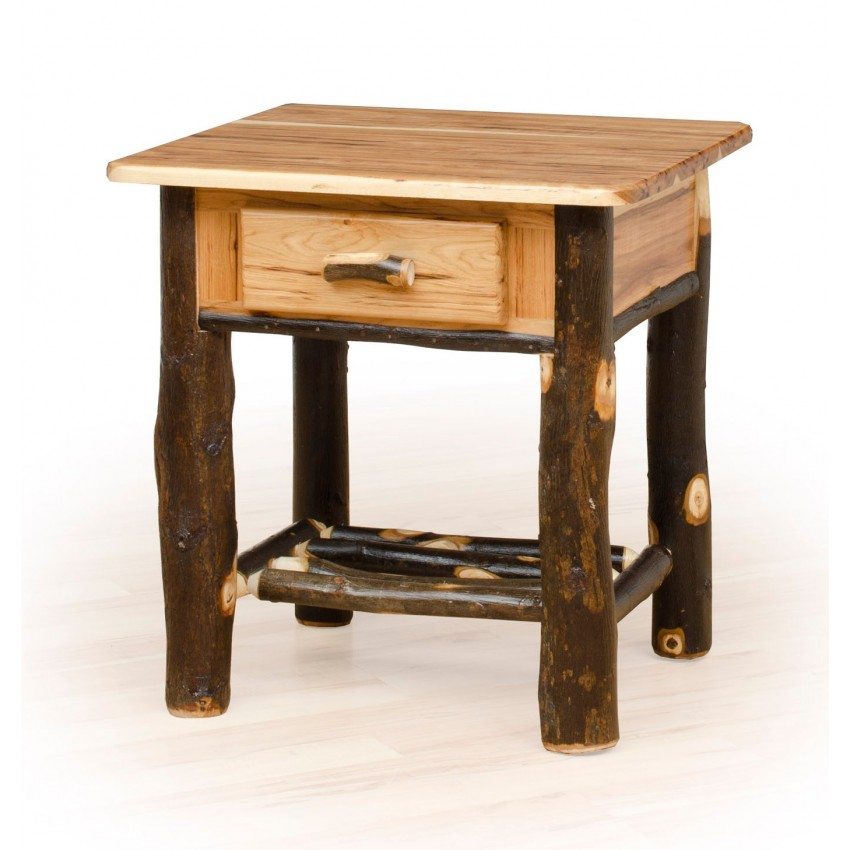 Rustic hickory oak nightstand 1 drawer furniture for Rustic nightstands