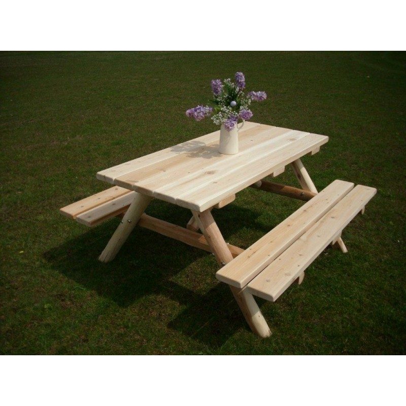 White cedar log picnic table attached benches white cedar log picnic table with attached bench 5ft watchthetrailerfo