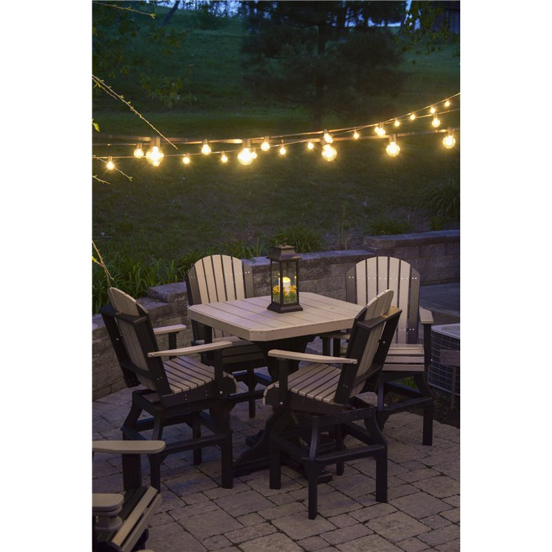 Poly Furniture Wood Square Table With Swivel Adirondack Chairs - Table 41 restaurant