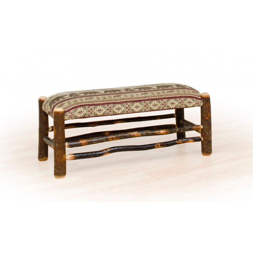 Rustic hickory and oak Upholstered benches