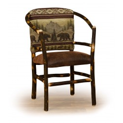 Rustic Hickory Hoop Char - Faux Leather Seat and Upholstered Back