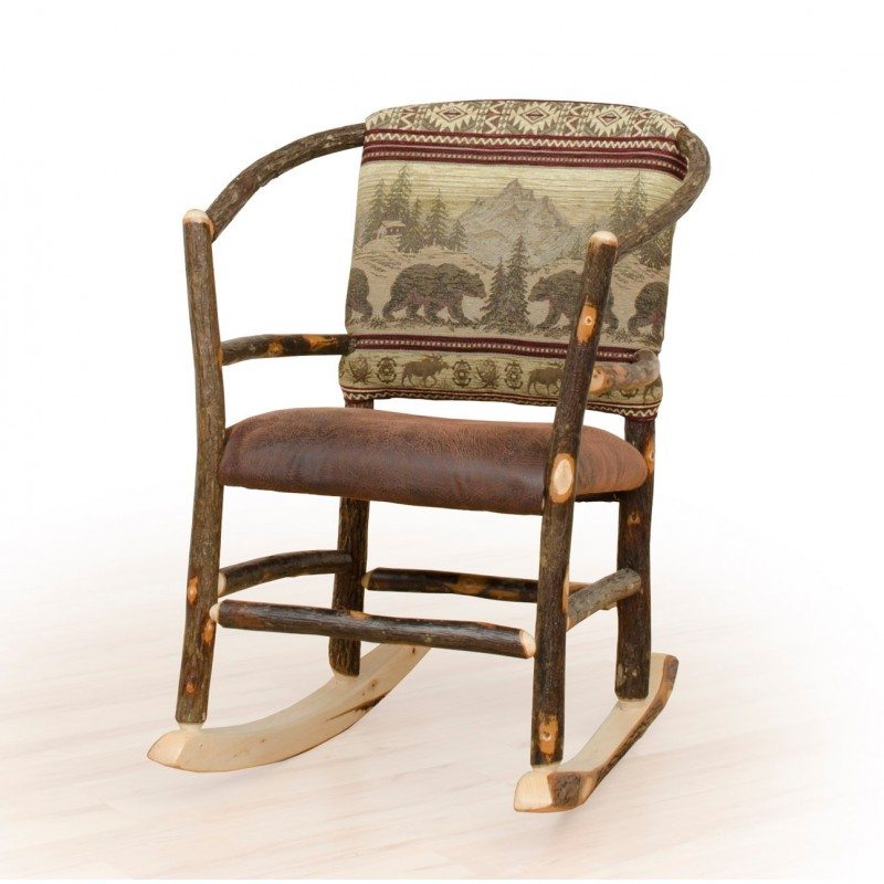 Rustic Hickory Hoop Rocking Chair Faux Brown Leather Seat Upholstered