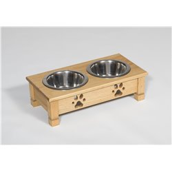 Low Pine Double Dog Dish - 2 Quarts - Unfinished or Stained
