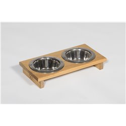 Small Pine Double Dog or Cat Dish - Pint Sized - Unfinished or Stained
