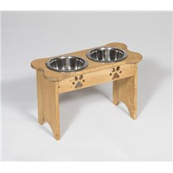 Tall Pine Double Dog Bone Dish - 2 Quarts - Unfinished or Stained
