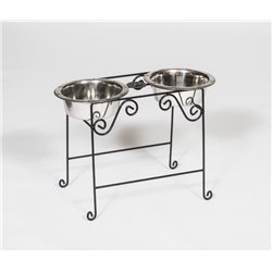Wrought Iron Dog Feeder- Tall with Double Dog Dish- 2 Quarts