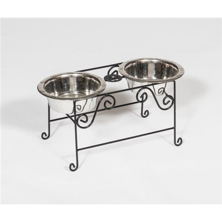 Wrought Iron Dog Feeder- Medium with Double Dog Dish- 2 Quarts