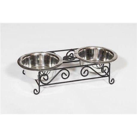 Wrought Iron Dog Feeder- Small with Double Dog Dish- 2 Quarts