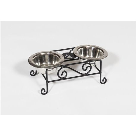 Wrought Iron Dog Feeder- Small with Double Dog Dish- Pint