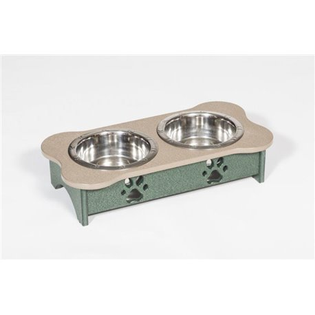 Poly Lumber Wood - Short Double Dog Bone Dish - 2 Quart