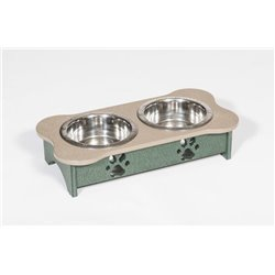 Poly Lumber Wood - Tall Triple Dog Bone Dish - 2 Quart