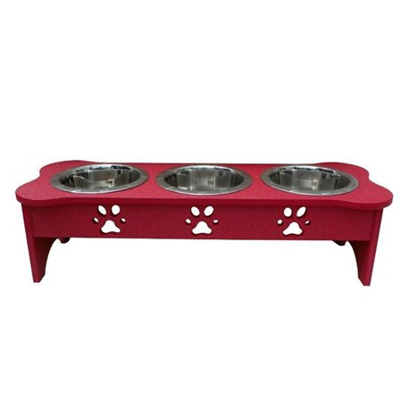 Poly Lumber Wood - Medium Triple Dog Bone Dish - 2 Quart