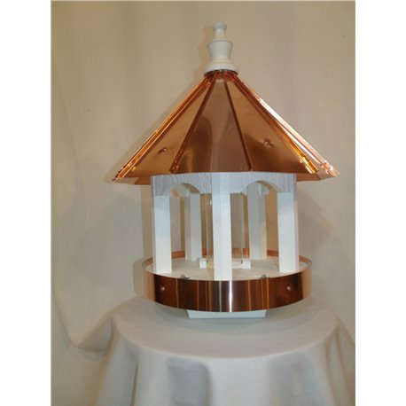 Polished Copper Top Bird Feeder with Copper Trim - 24 inches TALL
