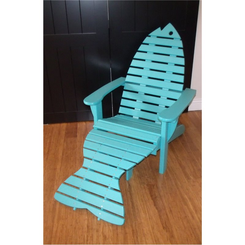 Fish Shaped Adirondack Chair With Fish Tail Ottoman