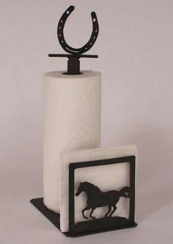 Running Horse Paper Towel / Napkin Holder with Horse Shoe Finial